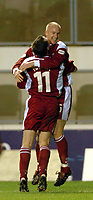 Picture: Henry Browne.<br />Date: 13/12/2003.<br />Wimbledon v Walsall Nationwide First Division.<br />Neil Emblen celebrates his winner for Walsall with Darren Wrack