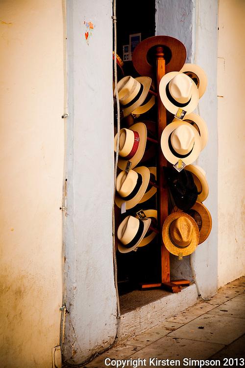 Selling Hats on Domingo Plaza