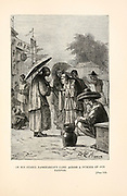 Passepartout Came Across a Number of Old Natives. from the book ' Around the world in eighty days ' by Jules Verne (1828-1905) Translated by Geo. M. Towle, Published in Boston by James. R. Osgood & Co. 1873 First US Edition