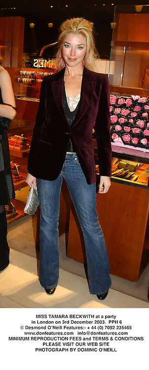 MISS TAMARA BECKWITH at a party in London on 3rd December 2003.  PPH 6