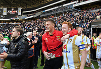 Football - 2018 / 2019 Sky Bet EFL League Two - MK Dons vs. Mansfield<br /> <br /> Milton Keynes Dons' Dean Lewington with Stuart Moore celebrate at the final whistle, at Stadium MK.<br /> <br /> COLORSPORT/ASHLEY WESTERN