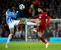 Liverpool's Mohamed Salah vies for possession with Huddersfield Town's Terence Kongolo<br /> <br /> Photographer Alex Dodd/CameraSport<br /> <br /> The Premier League - Liverpool v Huddersfield Town - Friday 26th April 2019 - Anfield - Liverpool<br /> <br /> World Copyright © 2019 CameraSport. All rights reserved. 43 Linden Ave. Countesthorpe. Leicester. England. LE8 5PG - Tel: +44 (0) 116 277 4147 - admin@camerasport.com - www.camerasport.com