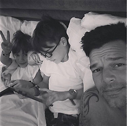 """Ricky Martin releases a photo on Twitter with the following caption: """"""""What a perfect way to wake up!So much #pride! Hab, vi saknar dig. <br /> Happy Pride everyone! #Pride2017 #gaypride #gaylove #gaylatino #🏳️🌈"""""""". Photo Credit: Twitter *** No USA Distribution *** For Editorial Use Only *** Not to be Published in Books or Photo Books ***  Please note: Fees charged by the agency are for the agency's services only, and do not, nor are they intended to, convey to the user any ownership of Copyright or License in the material. The agency does not claim any ownership including but not limited to Copyright or License in the attached material. By publishing this material you expressly agree to indemnify and to hold the agency and its directors, shareholders and employees harmless from any loss, claims, damages, demands, expenses (including legal fees), or any causes of action or allegation against the agency arising out of or connected in any way with publication of the material."""