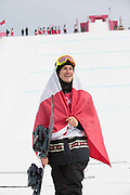 Sebastien Toutant, Canda, GOLD, at the mens snowboard big air flower ceremony at the Pyeongchang 2018 Winter Olympics on 24th February 2018, at the Alpensia Ski Jumping Centre in Pyeongchang-gun, South Korea