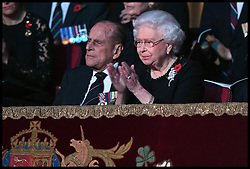 November 12, 2016 - London, United Kingdom - Image ¬©Licensed to i-Images Picture Agency. 12/11/2016. London, United Kingdom. Royal Festival of Remembrance. .Queen Elizabeth II and the Duke of Edinburgh attend the annual Royal Festival of Remembrance at the Royal Albert Hall in London...Picture by  i-Images / Pool (Credit Image: © i-Images via ZUMA Wire)