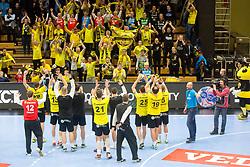 RK Gorenje Velenje players celebrate during handball match between RK Gorenje Velenje and Kadetten Schaffhausen in VELUX EHF Champions League, on November 25, 2017 in Rdeca Dvorana, Velenje, Slovenia. Photo by Ziga Zupan / Sportida