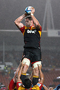 Craig Clarke gets lifted high in the air by the Chiefs ,during the Investec Super 15 Rugby match, Chiefs v Blues, at Waikato Stadium, Hamilton, New Zealand, Saturday 26 March 2011. Photo: Dion Mellow/photosport.co.nz