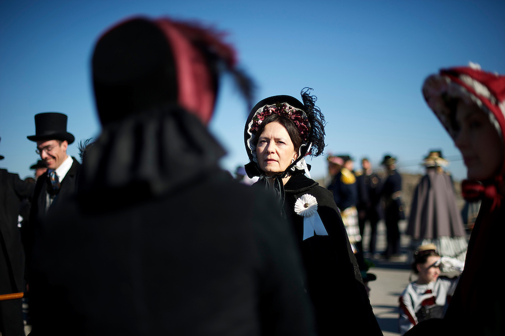 A woman wears clothes of mourning before a Remembrance Day Parade in Gettysburg, PA celebrating the 149th anniversary of the Gettysburg Address, on November 17, 2012.