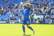 Cardiff City midfielder Marlon Pack (21) holds his head after a miss opportunity during the EFL Sky Bet Championship match between Cardiff City and Bristol City at the Cardiff City Stadium, Cardiff, Wales on 28 August 2021.