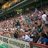 28.08.2019, Stadion Lohmühle, Luebeck, GER,  VFB Lübeck/Luebeck vs VfL Wolfsburg IIi<br /> <br /> DFB REGULATIONS PROHIBIT ANY USE OF PHOTOGRAPHS AS IMAGE SEQUENCES AND/OR QUASI-VIDEO.<br /> <br /> im Bild / picture shows<br /> Spielunterbrechung da das Flutlicht ausgefallen ist, die Fans helfen mit Handys und Feuerzeugen aus.<br /> <br /> Foto © nordphoto / Tauchnitz