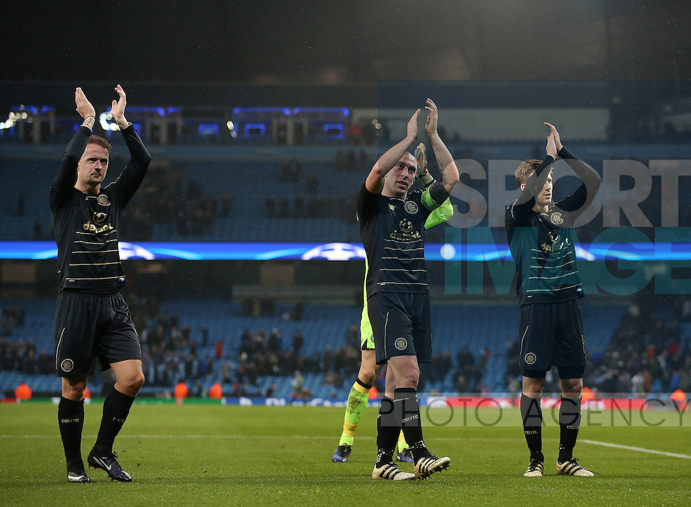 Leigh Griffiths and \c8 applaud the fans during the Champions League Group C match at the Etihad Stadium, Manchester. Picture date: December 6th, 2016. Pic Simon Bellis/Sportimage