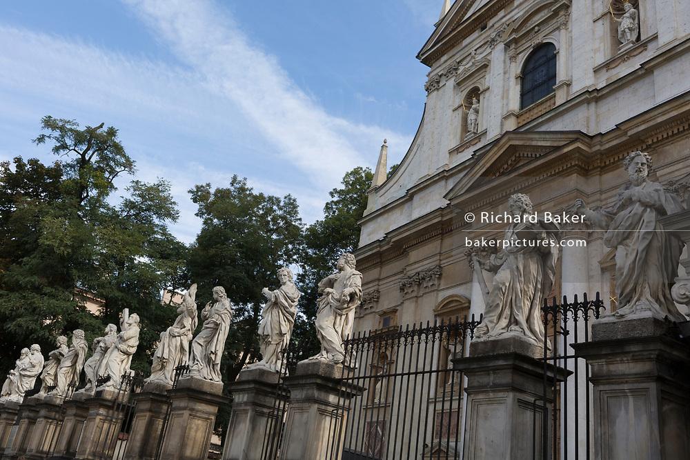 Twelve apostle statues outside the church St. Peter and St. Paul Church on Grodzka street, on 23rd September 2019, in Krakow, Malopolska, Poland.