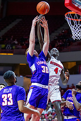 NORMAL, IL - January 29: Noah Freerking reaches for a rebound as Abdou Ndiaye attempts to tip it back to the bucket during a college basketball game between the ISU Redbirds and the University of Evansville Purple Aces on January 29 2020 at Redbird Arena in Normal, IL. (Photo by Alan Look)