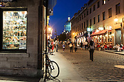 Rue Saint-Paul at the dusk and the blue hour, Old Montreal, Arrondissement de Ville-Marie, Montreal, Quebec, Canada