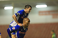 Calvin Andrew, Ian Henderson goal celebrations during the Sky Bet League 1 match between Walsall and Rochdale at the Banks's Stadium, Walsall, England on 2 January 2016. Photo by Daniel Youngs.