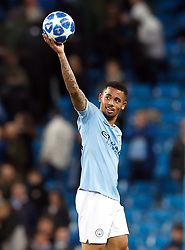 Manchester City's Gabriel Jesus celebrates with the matchball after scoring a hat-trick in the UEFA Champions League match at the Etihad Stadium, Manchester.