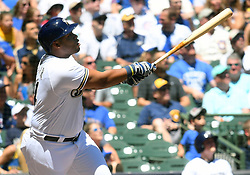 June 13, 2018 - Milwaukee, WI, U.S. - MILWAUKEE, WI - JUNE 13: Milwaukee Brewers First base Jesus Aguilar (24) makes contact during a MLB game between the Milwaukee Brewers and Chicago Cubs on June 13, 2018 at Miller Park in Milwaukee, WI. The Brewers defeated the Cubs 1-0.(Photo by Nick Wosika/Icon Sportswire) (Credit Image: © Nick Wosika/Icon SMI via ZUMA Press)