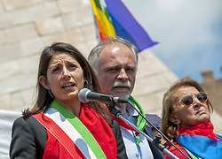 April 25, 2017 - Rome, Italy, Italy - The mayor of Rome Virginia Raggi at Porta San Paolo during the celebration of Liberation celebrated with a procession called by the Anpi (Association of Partisans of Italy) Many banners of the section Anpi - ''Partigiani'' was written on the banner that opened the event ''- and of the Palestinian communities and associations. A march came to Porta San Paolo, where the mayor of Virginia Raggi also intervened. A delegation of protesters then went to bring flowers to the tombstone on the Iron Bridge dedicated to the 10 women killed by the Nazis on April 7, 1944 for retaliation against the '' Assault on the oven for bread. (Credit Image: © Patrizia Cortellessa/Pacific Press via ZUMA Wire)