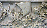 Roman ship with spritsail on the Copenhagen Sarcophagus from the late 3rd century AD.