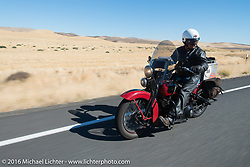 Kenney Sweeney on his 1934 Harley-Davidson VLD during Stage 15 (244 miles) of the Motorcycle Cannonball Cross-Country Endurance Run, which on this day ran from Lewiston, Idaho to Yakima, WA, USA. Saturday, September 20, 2014.  Photography ©2014 Michael Lichter.