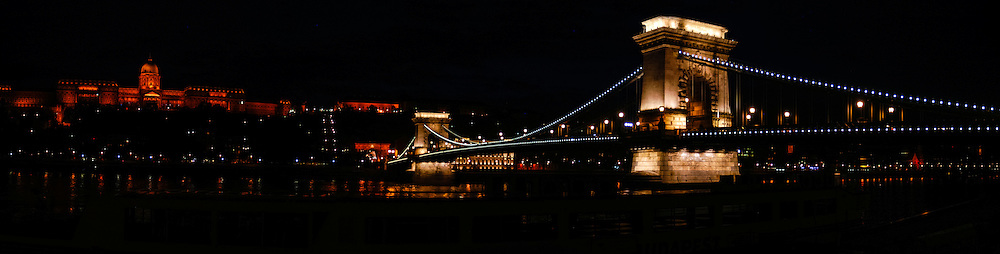 Budapest, Hungary.  Castle Hill at night.