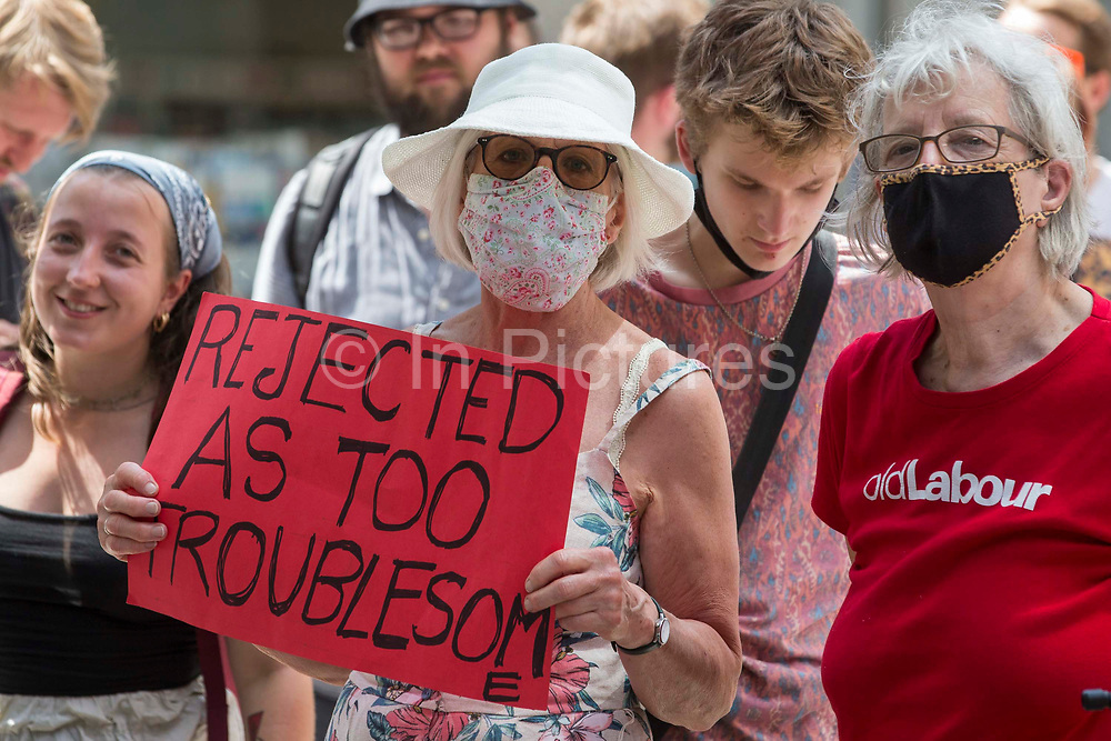 Supporters of left-wing Labour Party groups attend a protest lobby outside the partys headquarters on 20th July 2021 in London, United Kingdom. The lobby was organised to coincide with a Labour Party National Executive Committee meeting during which it was asked to proscribe four organisations, Resist, Labour Against the Witchhunt, Labour In Exile and Socialist Appeal, members of which could then be automatically expelled from the Labour Party.