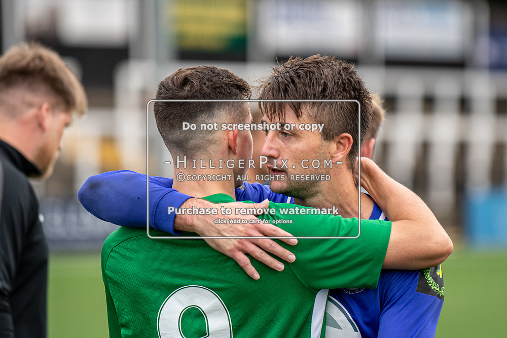 BROMLEY, UK - SEPTEMBER 22: Josh Pope, of Soham Town Rangers, is congratulated by a team mate after the Emirates FA Cup Second Round Qualifier match between Cray Wanderers and Soham Town Rangers at Hayes Lane on September 22, 2019 in Bromley, UK. <br /> (Photo: Jon Hilliger)