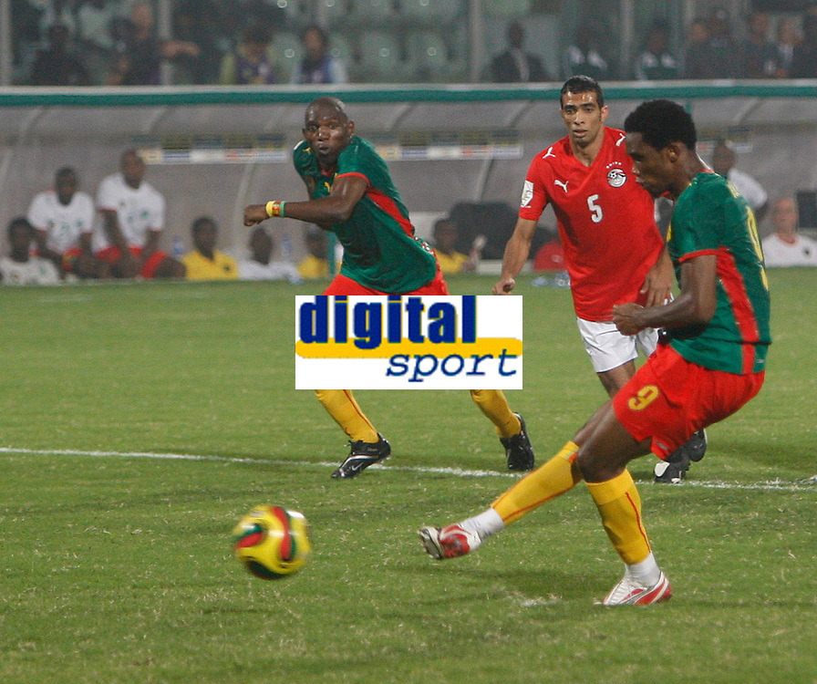 Photo: Steve Bond/Richard Lane Photography.<br /> Egypt v Cameroun. Africa Cup of Nations. 22/01/2008. Samuel Eto'o nets a consolation penalty