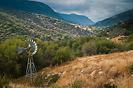 Windmill in the hills below Mineral King, Tulare County, California