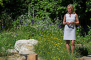 Sophie Raworth in the Homebase garden. The Chelsea Flower Show 2014. The Royal Hospital, Chelsea, London, UK