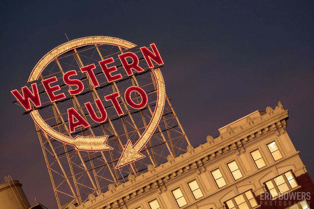 The famous Western Auto Sign in downtown Kansas City.