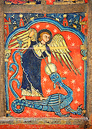 Gothic altar panel depicting St Michael sleighing the dragon. End of the 13th century, tempera on a spruce wooden panel  from  The Church of Sant Miguel de Soriguerola, Cerdanya, Huesca, Spain. Inv MNAC 43901. National Museum of Catalan Art (MNAC), Barcelona, Spain .<br /> <br /> If you prefer you can also buy from our ALAMY PHOTO LIBRARY  Collection visit : https://www.alamy.com/portfolio/paul-williams-funkystock/romanesque-art-antiquities.html<br /> Type -     MNAC     - into the LOWER SEARCH WITHIN GALLERY box. Refine search by adding background colour, place, subject etc<br /> <br /> Visit our ROMANESQUE ART PHOTO COLLECTION for more   photos  to download or buy as prints https://funkystock.photoshelter.com/gallery-collection/Medieval-Romanesque-Art-Antiquities-Historic-Sites-Pictures-Images-of/C0000uYGQT94tY_Y