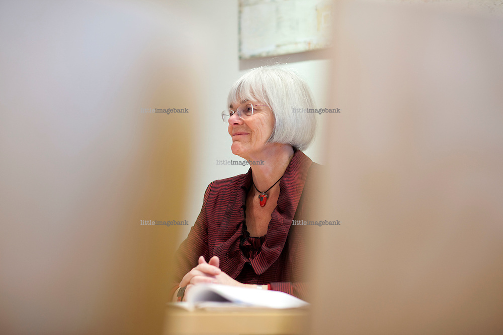 SV politician Thora Aasland seen in her offices in Oslo. Photo: Christopher Olssøn.
