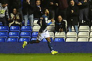 Birmingham City midfielder Jacques Maghoma celebrates goal during the Sky Bet Championship match between Birmingham City and Brentford at St Andrews, Birmingham, England on 2 January 2016. Photo by Alan Franklin.