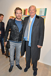 Left to right, JACOBI ANSTRUTHER-GOUGH-CALTHORPE and his father JOHN ANSTRUTHER-GOUGH-CALTHORPE at a private view entitled Stop Making Sense featuring work by Georgiana Anstruther and Carol Corell held at Lacey Contemporary, 8 Clarendon Cross, London on 9th March 2016.
