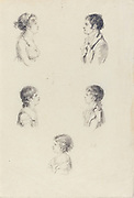 Five Busts, by Augustin de Saint-Aubin, etching,