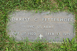 31 August 2017:   Veterans graves in Park Hill Cemetery in eastern McLean County.<br /> <br /> Forrest G Fetterhoff  Private First Class US Army  Oct 27 1920  Feb 13 1975