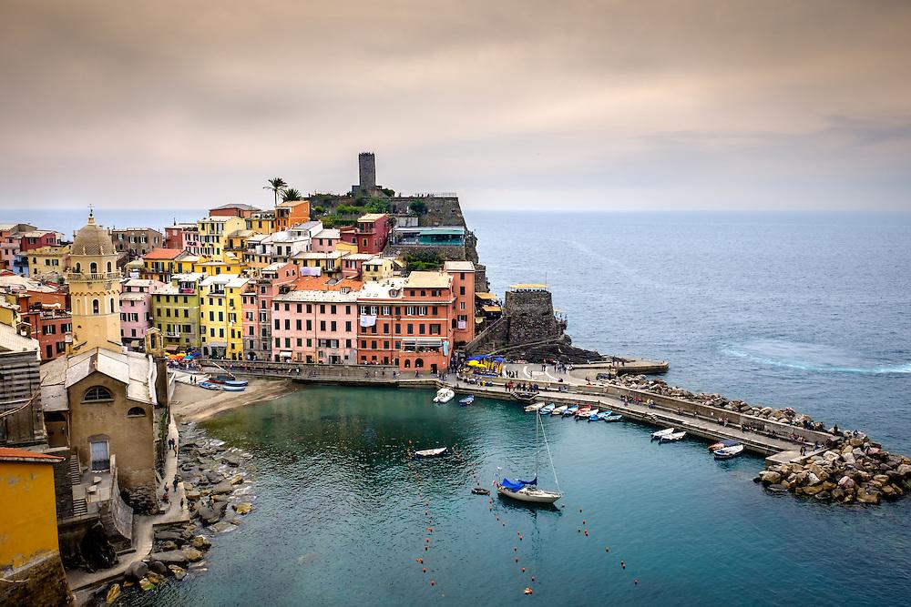 VERNAZZA, ITALY - CIRCA MAY 2015:  View of Vernazza in  Cinque Terre, Italy.