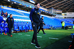 Bournemouth's Adam Smith inspects the pitch ahead of the match during the Premier League match at the Cardiff City Stadium.