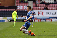 Michael Jacobs of Wigan Athletic celebrates after scoring his teams 4th goal. Skybet football league one match , Wigan Athletic v Southend Utd at the DW Stadium in Wigan, Lancs on Saturday 23rd April 2016.<br /> pic by Chris Stading, Andrew Orchard sports photography.