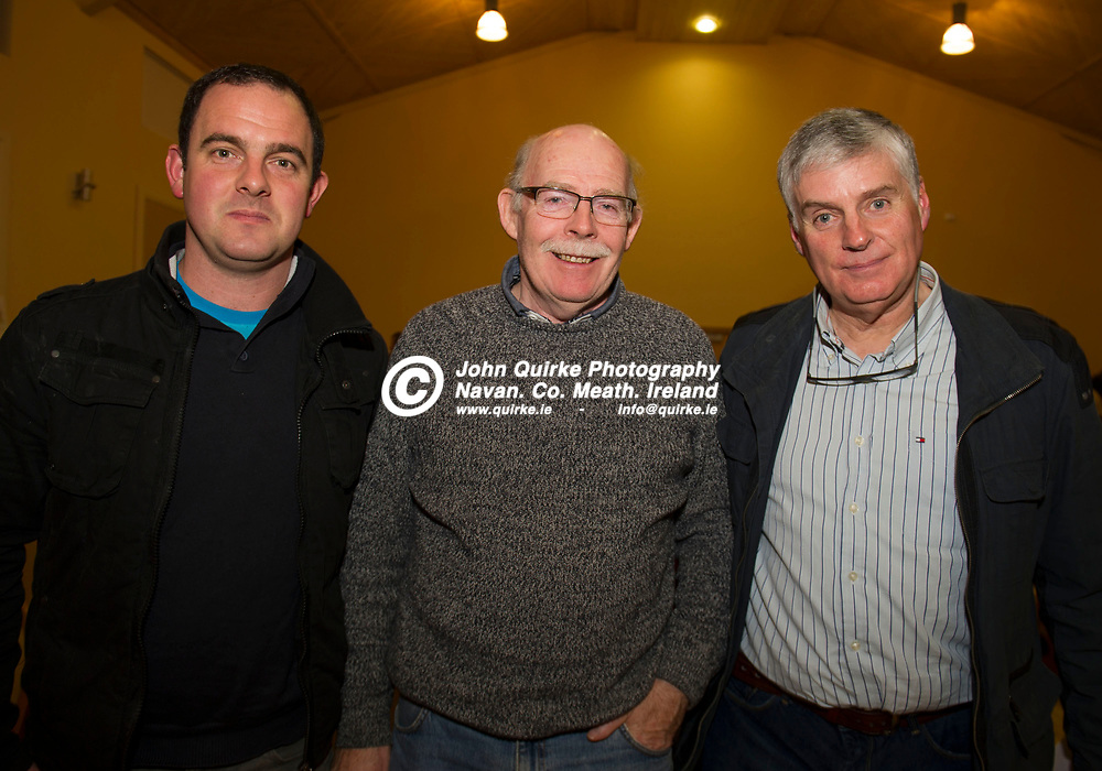 11-12-17. Meath GAA Annual Convention at Navan O'Mahony's GAA Clubhouse, Navan.<br /> Delegates in attendance at the Annual Convention from left, Brendan Walsh, Bill Coffey and Mark MacGroder, Drumree.<br /> Photo: John Quirke / www.quirke.ie<br /> ©John Quirke Photography, Unit 17, Blackcastle Shopping Cte. Navan. Co. Meath. 046-9079044 / 087-2579454.