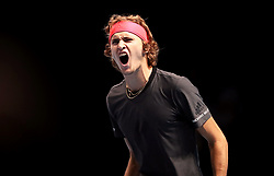Alexander Zverev celebrates winning first set during the men's singles match during day six of the Nitto ATP Finals at The O2 Arena, London. PRESS ASSOCIATION Photo. Picture date: Friday November 16, 2018. See PA story TENNIS London. Photo credit should read: John Walton/PA Wire. RESTRICTIONS: Editorial use only, No commercial use without prior permission.