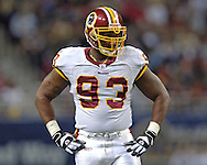 Washington Redskins defensive linemen Phillip Daniels during the first half against St. Louis, at the Edward Jones Dome in St. Louis, Missouri, December 4, 2005.  The Redskins beat the Rams 24-9.