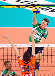 15-01-2013 VOLLEYBAL: CHAMPIONS LEAGUE ACH VOLLEY - CUNEO: LJUBLJANA<br /> Nimir Abdelaziz and Andrea Rossi of Cuneo during volleyball match between ACH Volley Ljubljana and Bre Banca Lannutti Cuneo (ITA) in Playoff 12 game of CEV Champions League<br /> ***NETHERLANDS ONLY***<br /> ©2013-FotoHoogendoorn.nL