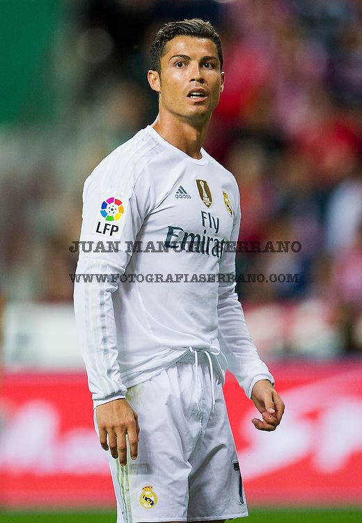 GIJON, SPAIN - AUGUST 23:  Cristiano Ronaldo of Real Madrid reacts during the La Liga match between Sporting Gijon and Real Madrid at Estadio El Molinon on August 23, 2015 in Gijon, Spain.  (Photo by Juan Manuel Serrano Arce/Getty Images)