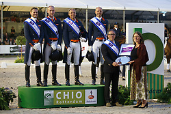 Team Holland, Edward gal, Diederik Van Silfhout, Patrick Van der Meer, Hans Peter Minderhoud, chef d'equipe, Wim Ernes<br /> Interchem prijs Grand Prix Freestyle CDI5*<br /> CHIO Rotterdam 2015<br /> © Hippo Foto - Dirk Caremans<br /> 20/06/15