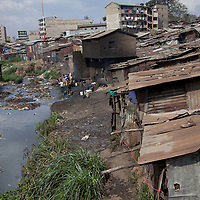 A view of the Mathare River and the homes that line the banks of the water.