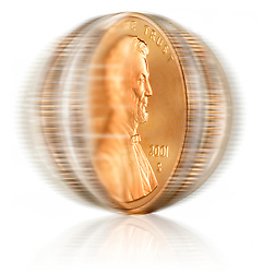 Spinning U.S. coins