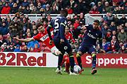 Middlesbrough defender George Friend (3) has a shot blocked by Derby County defender Jayden Bogle (37)  during the EFL Sky Bet Championship match between Middlesbrough and Derby County at the Riverside Stadium, Middlesbrough, England on 27 October 2018.