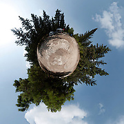 Polar panorama of a Camping site in a forest